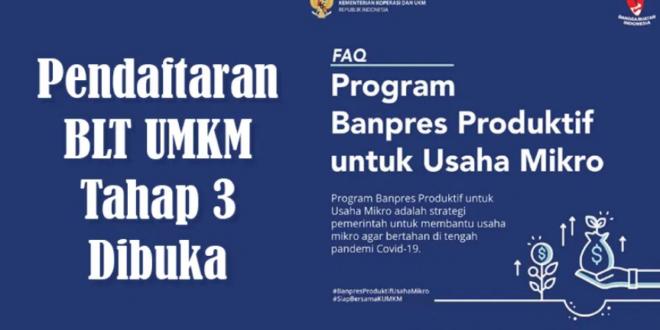 Daftar BLT BPUM Tahap 3 Via Online dan Offline